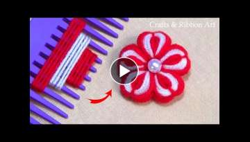 Amazing Trick with Hair Comb - Easy Woolen Flower Making - Hand Embroidery Design - Sewing Hack