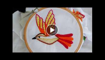 Hand Embroidery: Bird Embroidery (Fly Stitch, Stem Stitch)