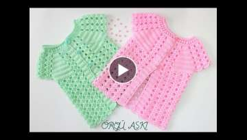 Water Stone Patterned Crochet Seasonal Baby Vest // 1-1.5 Age Baby Vests (Part-2)