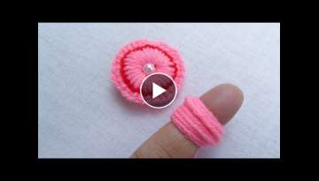 Hand Embroidery Amazing Trick, Easy Flower Embroidery Trick, Woolen Flower