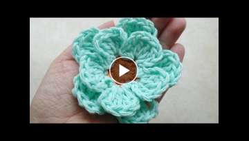 CROCHET How to -Crochet Easy Flower -TUTORIAL -LEARN CROCHET