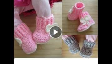 Crochet baby booties tutorial newborn 0-3 months 0-6 months