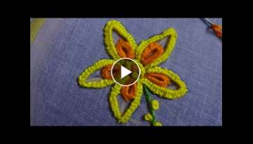Hand Embroidery Flower Design Buttonhole Stitch by Amma Arts