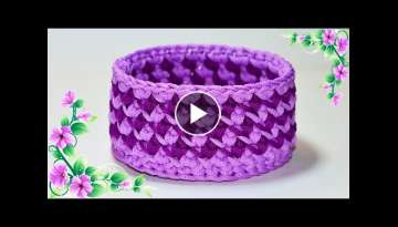 The basket is crocheted from knitted yarn - Basket crochet DIY