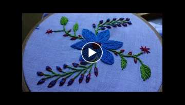 Hand Embroidery Split Stitch Flower Design by Amma Arts