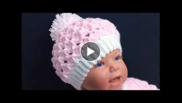 CROCHET BABY HAT 3-6M, MARSHMALLOW CROCHET STITCH, HOW TO CROCHET BABY HATS up to 12M