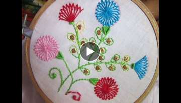Hand Embroidery Designs | Shafali flower stitches | Stitch and Flower-82 - YouTube