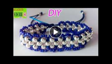 How to make bracelets with beads and string or thread tutorial diy chaquira beads and satin ratta...