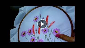 Hand embroidery designs - Lazy daisy stitch, Long lazy daisy, feather stitch