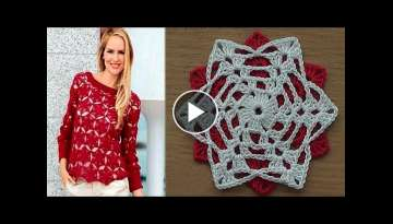 Crochet motif for tunic blouse dress VERY EASY free pattern tutorial