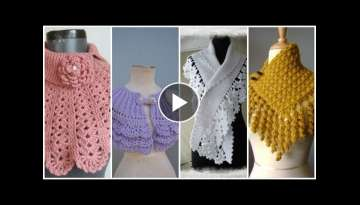 Trendy crochet knitted charm lace caplet cowl scarf design for ladies/winter collection