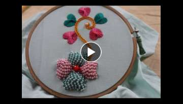 Hand Embroidery Designs | Beads Padded Butterfly Stitch | Stitch and Flower-145