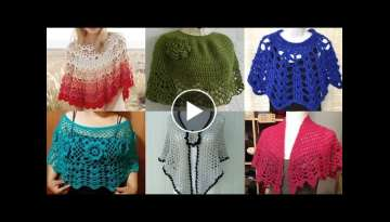 Latest Stylish designer Trendy bridal Hand knitting caplet Crochet shawl/ Crochet ponchu New Patt...