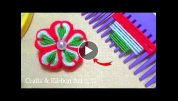 Easy Craft Ideas with Wool - Amazing Trick with Hair Comb - Hand Embroidery Flower