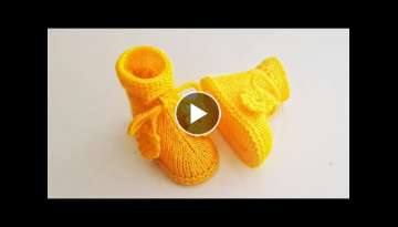 Laced yellow baby boots/ Baby Shoes/ Baby Booties