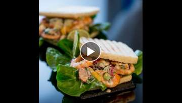 Grilled Shrimp Salad on Toast