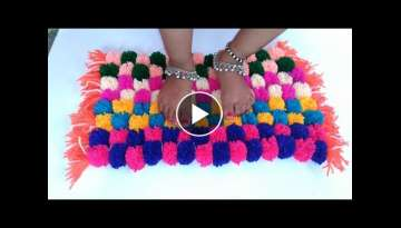 How to make Pom Pom Doormat, Table mat, Carpet, Rug Home Decor