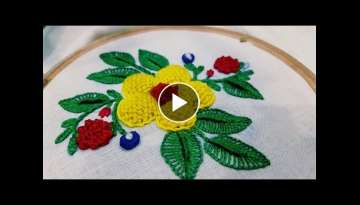 Padded flower stitch :hand embroidery step by step