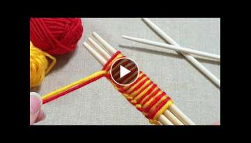 Super Easy Woolen Flower Craft Ideas using Chopstick - Hand Embroidery Amazing Trick - Wool Desig...