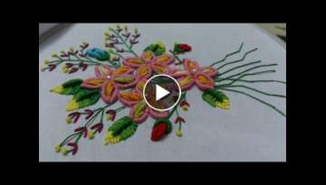 Hand embroidery designs, double cast on, bullion knot, creton stitches tutorial