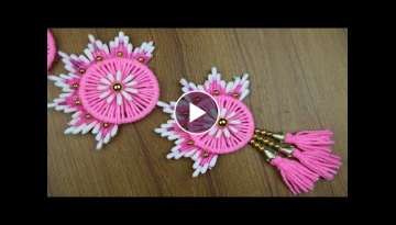 Home Decor Ideas || How To Make Beautiful Door/Wall Hanging Toran - Woolen Craft Idea - DIY Craft...