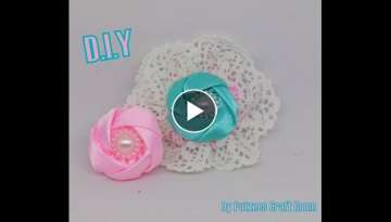 Cara Membuat Bros bunga kecil - D.I.Y Little Fabric Flower Brooch (Fabric Flower Tutorial #5)