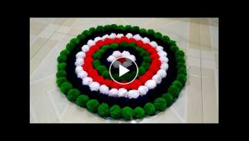 DIY - HOW TO MAKE POM POM DOOR MAT \\ HOW TO MAKE TABLE MAT FROM WOOLEN \\ DIY POM POM FLOWERS