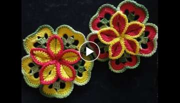 Volumetric flower of squares Crocheting
