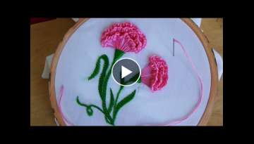 Hand Embroidery: Carnation flower