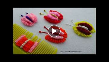 Hand Embroidery Amazing Trick| double layer Butterfly Embroidery Trick| super Easy Sewing Hack