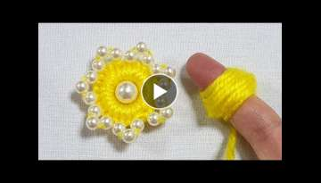 Amazing Woolen Flower Craft Ideas with Finger - Hand Embroidery Design Trick - Easy Flower Making