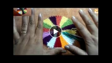 Table cloth Multicolor in knitting using leftover wool Hindi tutorial