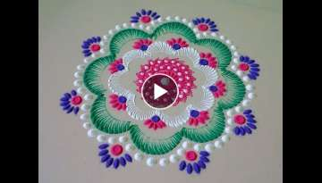 Beautiful recycle colour rangoli,rangoli design.