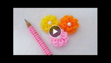 Hand Embroidery Amazing Trick - Easy Woolen Flower Making Ideas with Pencil