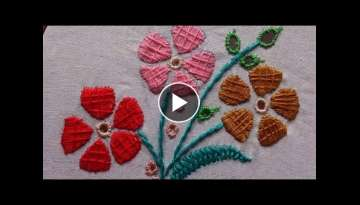 hand embroidery designs. hand embroidery tutorial - Cut work , satin stitch.