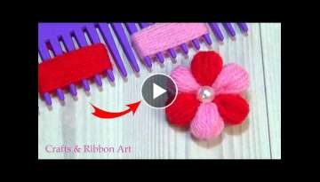 Amazing Woolen Flower Ideas with Hair Comb - Easy Trick - Hand Embroidery Design - Yarn Flowers