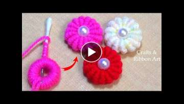 Amazing Trick with Cotton Bud - Easy Woolen Flower Making Ideas - Hand Embroidery Flower Design