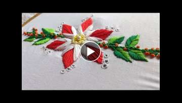 Hand embroidery stitches. Hand embroidery flower design with cut work. satin stitch