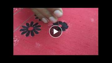 Simple flower petals design using long and short aari needle