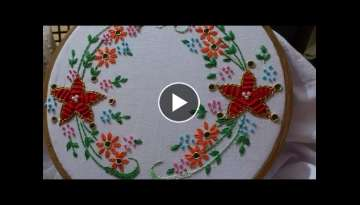 Hand embroidery designs. spider web stitch, closed fly stitch,lazy daisy, satin sttich