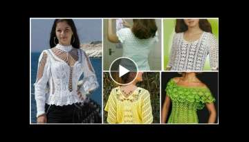 Trendy designer cute crochet doily lace pattern fancy top blouse for modern girls/Boho crochet to...