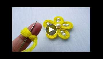 hand embroidery amazing trick - woolen flower with pearl beads