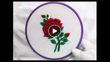 [Easy] Hand Embroidery - ???? Rose with Padded Satin Stitch