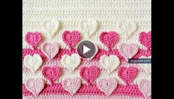 Crochet Hearts colored stitches With Pattern