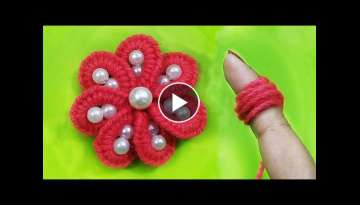 Amazing Woolen Flower Making Idea - Hand Embroidery Easy Trick with Finger