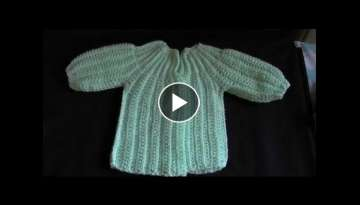How to Crochet a Baby Sweater/Cardigan - Cat's One Piece Wonder 1of 5