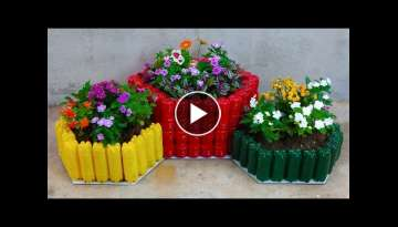 Easy pot making tips - Make unique flower pots out of plastic bottles for small garden