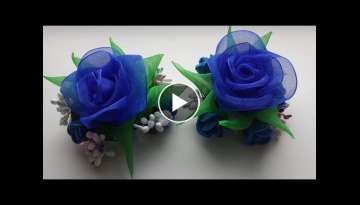 Hairpins of Kansas, Blue Roses, Organza