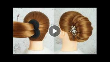 New French Bun Hairstyle Step By Step - French Roll Hairstyle With Clutcher | Braid Hairstyles 20...