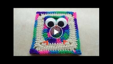Crochet Easy Owl Granny Square - LEARN CROCHET